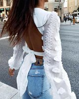 Spring New Women Lace Puff Sleeve Bandage Crop Top Blouse De...