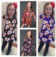 아기 Girs 드레스 2020 가을 겨울 어린이 크리스마스 스커트 산타 클로스, 눈사람 펭귄 엘크 곰 만화 귀여운 인쇄 크리스마스 드레스 E101903