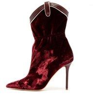 Гуллик красное вино бархатные женские лодыжки ботильоны 2020 новое поступление заостренные носки обувь высокие каблуки женщин-самки штриховые ботас размер 35-431