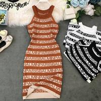 네 플로 니트 편지 인쇄 여성 드레스 여름 2021 새로운 고삐 민소매 Camis Vestidos 섹시한 슬림 허리 바디 콘 드레스 44319 Y0118