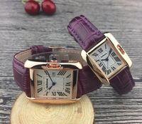 Rose Gold New Hombres Reloj GentorMen Lujo Pareja Hombres Mujeres Moda Reloj de pulsera Cuero Marrón Square Dial Femenino Relogio Montre Reloj Masculino