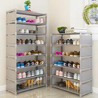 Multi Layer Schuhgestell Vliesstoffe Stahlrohr Einfach zu installieren Home Schuhkabinett Regal Lagerung Organizer Stand Halter Platz sparen y200527
