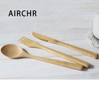 Airchr Nuovo Arrivo Bamboo Tableware 30pcs (10 set) 100% Natural Bamboo Cucchiaio Set di coltelli a forcella Set di stoviglie in legno T200430