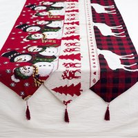 Рождественский журнальный столик украшения скатерти украшения принадлежности хлопок и лен вышивка рождественского стола бегуна творческого