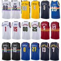 Печать Баскетбол Будет Бартон Джерси 5 Paul Millsap 4 Джамал Мюррей 15 Майкл Портер JR 1City заработанный издание черный белый синий красный желтый