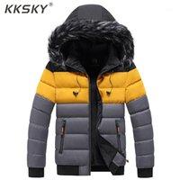 Kksky Mens Puffer Jacket 겨울 두꺼운 후드 자켓 코트 모피 칼라 남성 파카 이어 코트 코튼 따뜻한 대형 5XL1