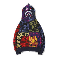 새로운 패션 남자 디자이너 스웨터 목욕 원숭이 원숭이 물고기 머리 위장 전체 지퍼 자켓 윈드 재킷 까마귀 힙합 남자 디자이너 스웨터