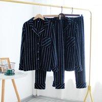 Sleepwear da uomo Inverno Flanella Flanella Verticale Vestito Vestito da risvolto Pajama Homme Pigiama da uomo Confortevole Pantaloni caldi caldi a casa SE