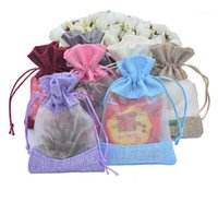 Regalo Wrap 200pcs 2 Tamaño Organza Jute Packaging Bag Party Candy Favor Saco Lino Drawstring Pouch Jewelry SN20271