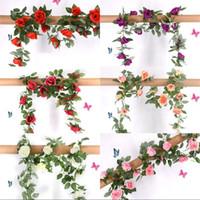 플라스틱 장미 인공 꽃 2.2M 스틸 와이어 등나무 쉬운 얽히게 꽃 웨딩 장식 홈 가든 파티 꽃 덩굴 6 5sw G2