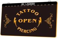 LS2655 Tattoo Open Piercing 3D Gravur LED-Lichtzeichen Großhandel Einzelhandel