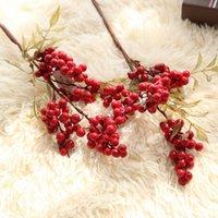 10 قطع محاكاة الأحمر رغوة التوت الفاصوليا النباتات الاصطناعية لعيد الميلاد الديكور المنزل زهرة الملحقات وهمية التوت فرع