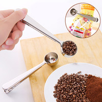 Multifunción cuchara de café cocina de acero inoxidable Material de la cucharada de café bolsa de cierre de enclavamiento herramientas de medición Cuchara Alimentación portátil de cocina VT1771