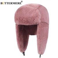 Buttermere Kürk Kapaklar Kadın Bombacı Şapkalar Pembe Kış Şapka Rus Kadın Kalın Sıcak Katı Yumuşak Rüzgar Geçirmez Kulak Flap Ushanka Şapka 2019 T200104