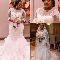 2021 Tallas grandes Vestidos de novia African 3/4 Mangas largas de encaje Applique Sirena con cuentas con cuentas Cuello Boda Boda Vestido Vestido De Novia