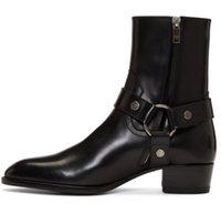 Sıcak Satış Adam Siyah Hakiki Deri Wyatt Koşum Botları 40 Koşum Ayak Bileği Süet Kuşaklı Deri Klasik Buzağı Deri SLP KW Çizmeler Ayakkabı