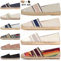 2021 Lüks Kadın Espadrilles Tasarımcı Deri Slip-On Rahat Ayakkabılar Yaz Patchwork Kadınlar Düz Granville Espadrille Düşük Kesim Beyaz Tuval