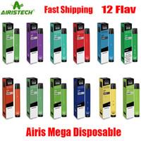 정통 AIRIS 메가 일회용 포드 장치 2000 퍼프 1050mAh 6 ㎖ 채워져 휴대용 Vape 스틱 펜 바 플러스 흐름 플레이 XXL 최대 100 % 정품