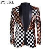 Pyjtrl Brand New Hommes Double-face Coloré Plaid Plaid Rouge Blanc Blanc Black Sequins Blazer Design DJ SUCCUNER VESTE VESTE VESTE DE FASTAGE LJ200924