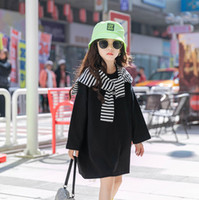 2021 New Children Stripe Shawl Sweatshirt sets Old Kids Letter Printed Long sleeve Jumper Fashion Girls loose Casual Tops 3-15T A5670