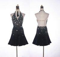 Stage Wear Shiny Rhinestone Latin Dance Dress For Women High-end Custom Black Sexy Skirt Fashion Ladies Professional Ballroom Suits