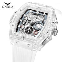 Onola Transparent Plastic Square Watch Men 2019 Fashion Casual Sport Cuarzo único Hombres Reloj 1