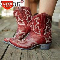 Outono inverno casual cowboy ocidental cowboy bootas mulheres cobra couro cowgirl botas curtas cossacos botas salto alto sapatos # fi1x