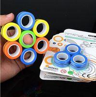 O novo toque de alívio do anel magnético Anti-stress degues dedos estresse Relador de dedo dedo Fidget Spinner Brinquedos Anéis Magnéticos para Adultos Crianças Presentes