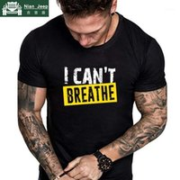 Letter Print T Shirt Men I Can' t Breathe Justice For Ge...