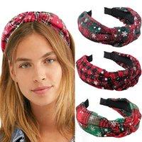 هدايا عيد الميلاد معقود رباطات الحافة العمامة النساء hairbands الإناث الأحمر منقوشة الفتيات اكسسوارات للشعر أغطية الرأس رئيس طارة