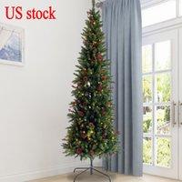 ABD STOK Yapay İnce Noel ağacı ile Kalem hissedin Gerçek Skinny Köknar Ağacı Ön yaktı Koniler ve çilek 7.5ft katlanabilir metal stand W49819947