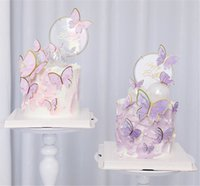 Hot Festive Home Butterflies Cake Toppers para Feliz Cumpleaños Magdalena Cake Topper Baby Shower Unicorn Cake Decor