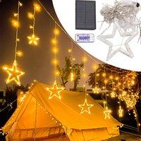 LED-Weihnachtslichtvorhang Solarbetriebene Fernbedienung LED-Vorhangbeleuchtung 8 Beleuchtungsmodi mit Timer-Twinkle-String-Leuchten