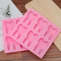 Zähne Schokolade Fondant netter 6-Loch-Kuchen-Dekoration Werkzeuge Zahn geformte Silikon-Kuchen-Form der 3D-Puddingform Moulds Jelly