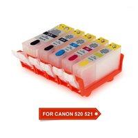 Cartuchos de tinta 5 colores PGI520 CLI521 Cartucho recargable con chip de arco para Canon Pixma IP3600 IP4600 IP4700 MX860 MX870 MP540 MP550 MP5501 MP5601