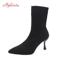 Aphixta 9cm 7cm 5cm Stretch Fabric Socks Boots Women Black Shoes Elegant Pointed Toe Knitting Elastic Ankle Boots for Women 201020