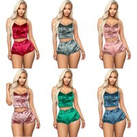 Neue Mode Frauen Sexy Samt Pyjama Sets Damen Spitze V-Ausschnitt Cropp Tops Shorts 2 stücke Nachtwäsche Dessous Pyjamas Sets