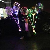 Mode Lumineszenz LED Lampe Ballon Multicolour Licht 20,5 Zoll Transparente Luftballone 70 cm Griff Pole Party Hohe Qualität 2 39JX L2