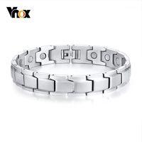 VNOX Нержавеющая сталь Магнитные браслеты для мужчин Женщин Терапия Целебный браслет Унисекс Ювелирные Изделия 3 Цвета Опции1
