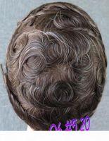 Human Hair Toupee Brazilain Remy hellbraun # 5 gemischt 20% graue Farbe Q6 Männer Toupee Haar Ersatz Voller Schweizer Spitze Toupee Freies Verschiffen