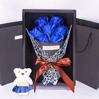 7 장미 비누 꽃 선물 상자 작은 꽃다발 발렌타인 데이 행사 선물 크리스마스 선물 선물 귀여운 장식 꽃 PPD3871