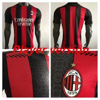 Novo jogador Versão 20 21 CA Milan Soccer Jersey 2020 2021 Camisa de Futebol Ibrahimovic Bennacer Rebic Camiseta de Futbol Romagnoli Jersey