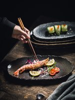 Erecamail Estilo japonés Negro Pearl Vajilla De Cerámica Creativa Plato De Sushi Irregular Tiras Largas Diarias Placa De Postre De Banquito 201217