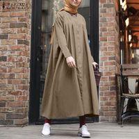 Abiti casual Zanzea Dress Abito musulmano Donne vintage manica lunga a maniche lunghe Camicia a colori solido allentato Dubai Abaya Turchia Hijab Robe Femme Plus Size