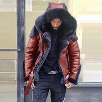 Мужские меховые искусственные мышцы мужские кожаные куртки мотоцикл плюс размер пальто с капюшоном на молнии мужские винтажные PU COATS верхняя одежда