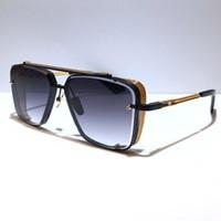 제한된 전자 D 여섯 선글라스 남자 금속 빈티지 고전 선글라스 패션 스타일 사각형 프레임리스 UV 400 렌즈 케이스 뜨거운 판매 모델