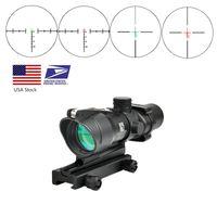Trijicon Acog 4x32 Real fibra ottica rosso dot illuminato chevron vetro inciso tattico tattico vista ottica hunting vista rosso vista