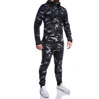 Men Hoodies Suit Tracksuit Sweatshirt Suit Autumn Winter Casual Camouflage Hoodie Pants Sports Tracksuit Sporting Male