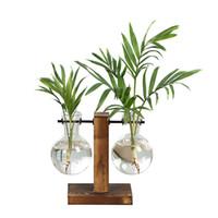 테라리움 수경 공장 화병 빈티지 꽃 냄비 투명 꽃병 나무 프레임 유리 탁상 식물 홈 분재 장식 P7ding T200703