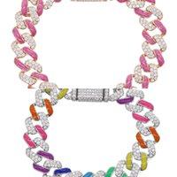 Été Chaud Selling Coloré Bijoux Néon Rainbow Enamel Ice Out CZ 11mm Miami Cuban Link Chain Chaîne Femme Bracelet J1211